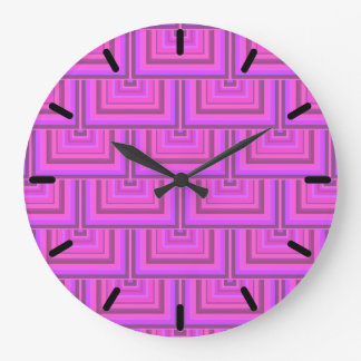 Pink stripes square scales pattern large clock