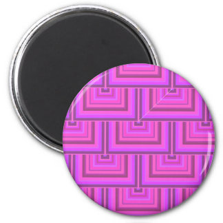 Pink stripes square scales pattern magnet