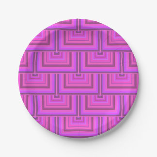 Pink stripes square scales pattern paper plate