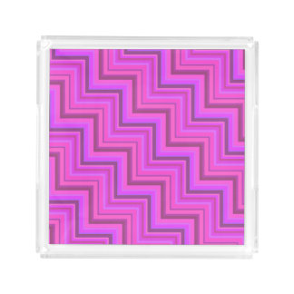 Pink stripes stairs pattern acrylic tray
