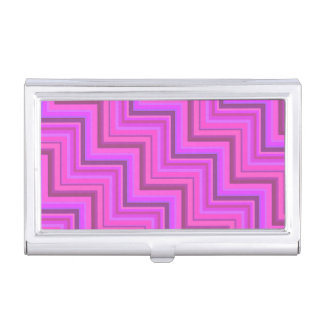 Pink stripes stairs pattern business card holder