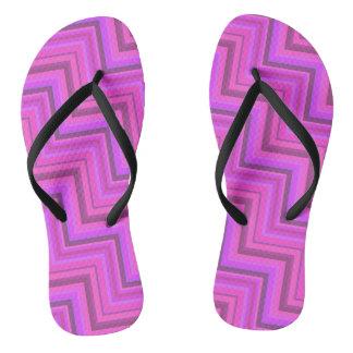 Pink stripes stairs pattern flip flops