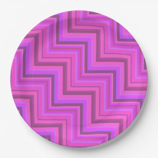 Pink stripes stairs pattern paper plate
