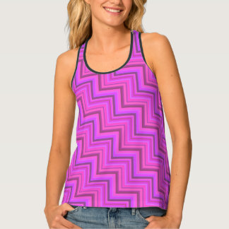 Pink stripes stairs pattern tank top