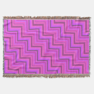 Pink stripes stairs pattern throw blanket