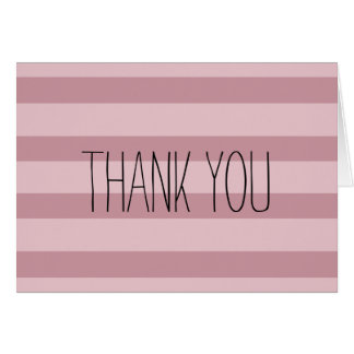 Pink Stripes Thank you Note Card