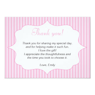 """Pink Stripes Thank You Card Note 5"""" X 7"""" Invitation Card"""