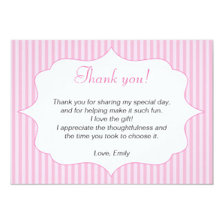 "Pink Stripes Thank You Card Note 5"" X 7"" Invitation Card"