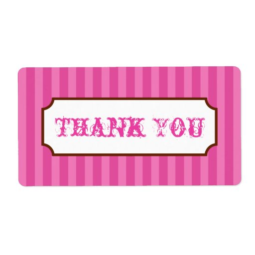 Pink Stripes Thank You Labels