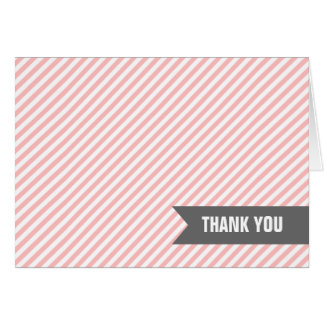 Pink Stripes Thank You Notes Note Card