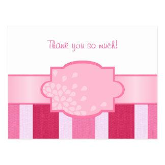 Pink Stripes Thank You Postcard
