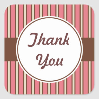 Pink Stripes Thank You Stickers