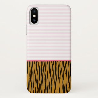 Pink Stripes & Tigerprint iPhone case