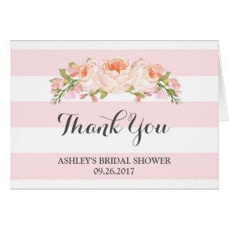 Pink Stripes Watercolor Bridal Shower Thank You Greeting Card