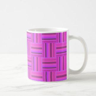 Pink stripes weave pattern coffee mug