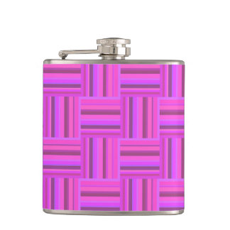 Pink stripes weave pattern hip flask
