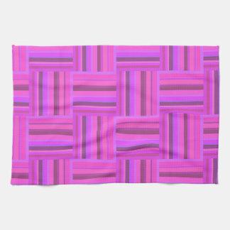 Pink stripes weave pattern kitchen towel