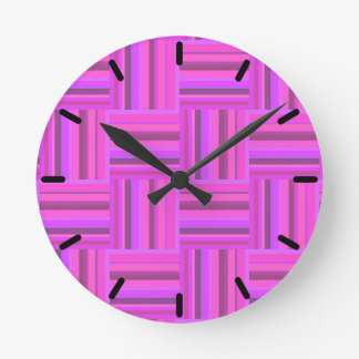 Pink stripes weave pattern round clock