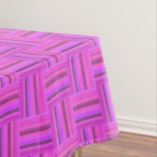 Pink stripes weave pattern tablecloth