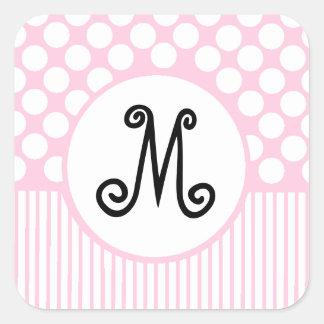 Pink Stripes & White Dots Monogram Square Sticker