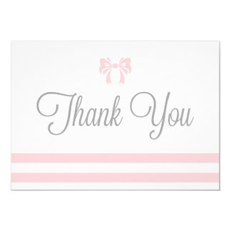 Pink Stripes with Bow Baby Shower Thank You Card