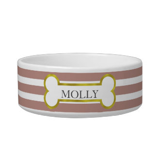 Pink Stripes with Gold Bone Personalized Pet Bowl