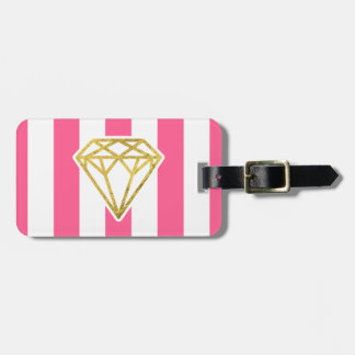 Pink Stripes with Gold Foil Diamond Luggage Tag