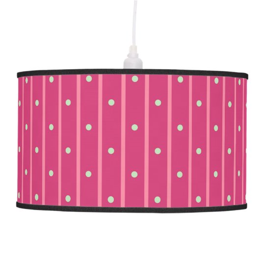 Pink stripes with mint green dots. ceiling lamp