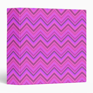 Pink stripes zigzag pattern 3 ring binder