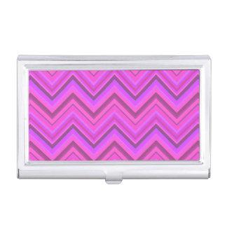 Pink stripes zigzag pattern business card holder