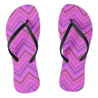 Pink stripes zigzag pattern flip flops