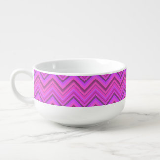 Pink stripes zigzag pattern soup bowl with handle