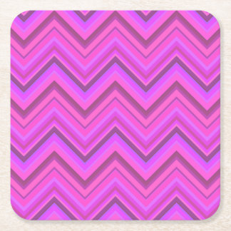 Pink stripes zigzag pattern square paper coaster