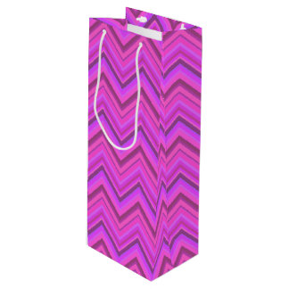 Pink stripes zigzag pattern wine gift bag