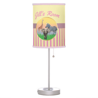 Pink Stripes Zoo Animal Girls Room Lamp