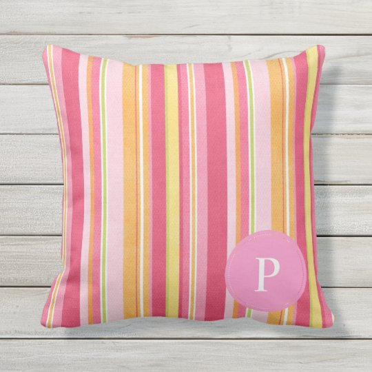 Pink Stripped Reversible Monogram Outdoor Pillow