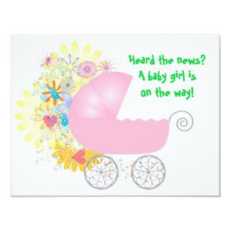 Pink Stroller Baby Shower Invitation
