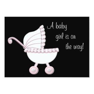 Pink Stroller Girl Baby Shower Card
