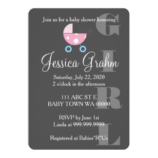 Pink Stroller Girl BabyShower Invitation
