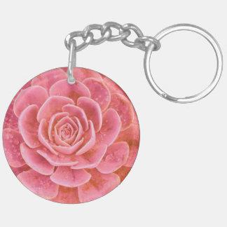 Pink Succulent Keychain