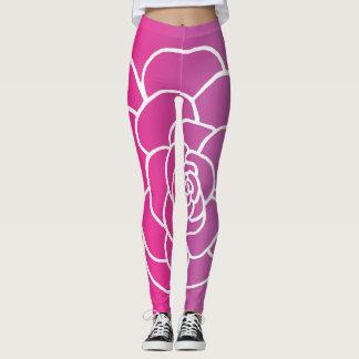Pink succulent leggings