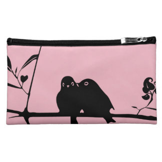 Pink Suede Medium Cosmetic Bag with birds clipart