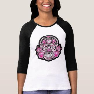 Pink Sugar Skull and Roses T-Shirt