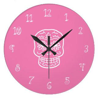 Pink Sugar Skull Large Clock