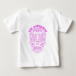 Pink sugar skull logo baby T-Shirt
