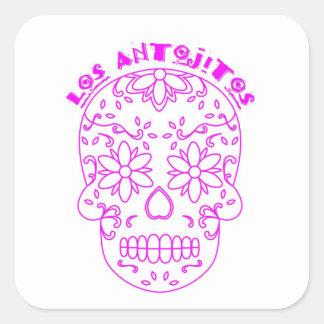 Pink sugar skull logo square sticker