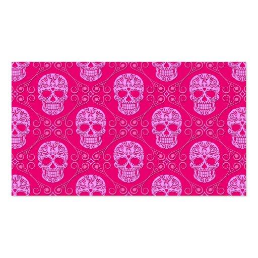 Pink Sugar Skull Pattern Business Card Template
