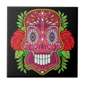 Pink Sugar Skull With Red Roses Green Leaves Tile