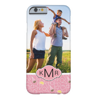 Pink Summer Ice Cream Pattern | Monogram Barely There iPhone 6 Case
