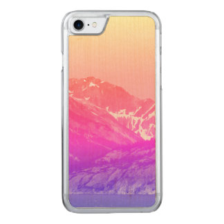 Pink Summer Mountains Wood Phone Case